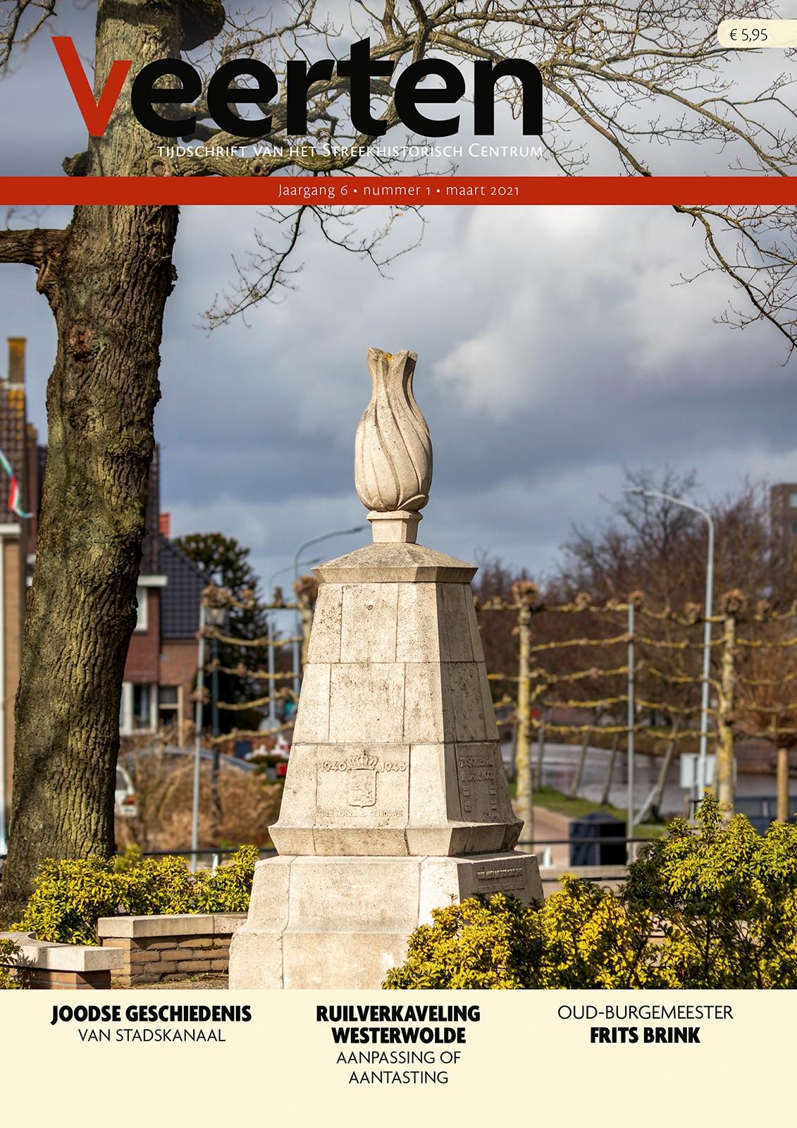 Op de cover van het voorjaarsnummer van Veerten staat het oorlogsmonument 1940-'45 in Musselkanaal.